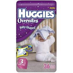 Huggies Overnites Diapers, Size 3, 36-Count (Pack of 2)