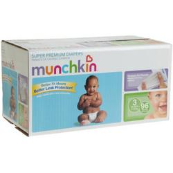 Munchkin Super Premium Diapers, Size 3/Medium Ultra (16-28 Pounds), 96-Count Box