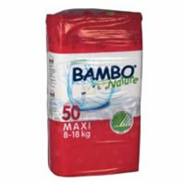 Bambo® Nature Chlorine-Free Eco-Friendly Baby Diapers (Size 4 Maxi - Fits 17.5 to 39 lbs) - 50/Bg 100/Cs