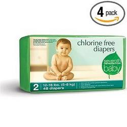 Seventh Generation Chlorine Free Diapers Size 2, Pack of 4 ,160 Diapers