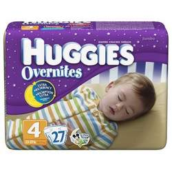 Huggies Overnites Diapers, Jumbo Pack, Size 4, 22-37 lbs 27 ea