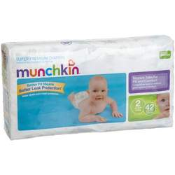 Munchkin Super Premium Diapers, Size 2/Small-Med Ultra (12-18 Pounds), 168-Count Box