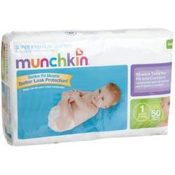 Munchkin Super Premium Diapers, Size 1/Small Ultra (8-14 Pounds), 200-Count Box