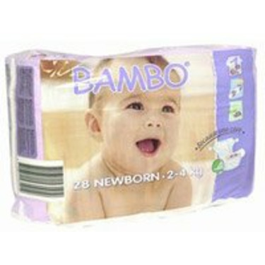 BAMBO® Baby Diapers - Size 1 - Newborn - Fits 4.4 to 8.8 lbs - 28/Bg