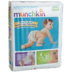Munchkin Super Premium Diapers, Size 4/Large Ultra (22-37 Pounds), 124-Count Box