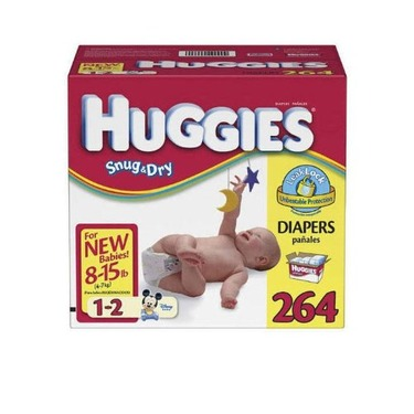 Huggies-Disney Snug & Dry Baby-Shaped Diapers, 264 Diapers (8-15lbs)