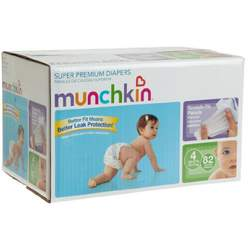 Munchkin Super Premium Diapers, Size 4/Large Ultra (22-37 Pounds), 82-Count Box