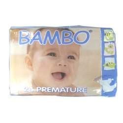 BAMBO® Baby Diapers - Size 0 - Premature - Fits 2.2 to 6.6 lbs - 24/Bg