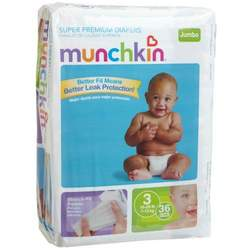 Munchkin Super Premium Diapers, Size 3/Medium Ultra (16-28 Pounds), 144-Count Box