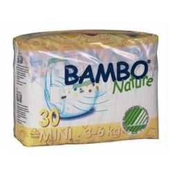 Bambo® Nature Chlorine-Free Eco-Friendly Baby Diapers (Size 2 Mini - Fits 6.6 to 13 lbs) - 30/Bg 120/Cs