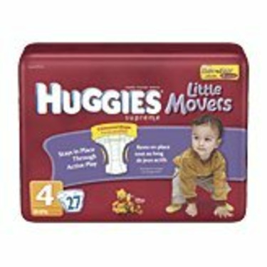 Huggies Supreme Little Movers Diapers, Size 4, 27-Count (Pack of 4)