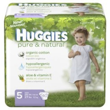 Huggies Pure & Natural Diapers, Size 5, 40-Count