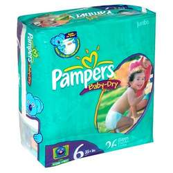 Pampers Baby-Dry Diapers, Size 6, Jumbo Pack, 26 Diapers (UNISEX)