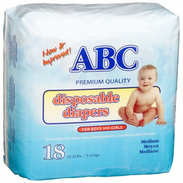 A.B.C. Diapers Medium Diapers (12-23 Lbs), 18-Count Packages (Pack of 12)
