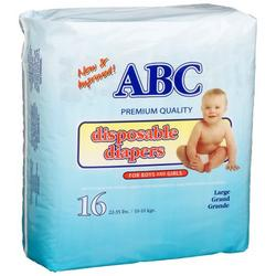 A.B.C. Diapers Large Diapers (22-35 Lbs), 16-Count Packages (Pack of 12)