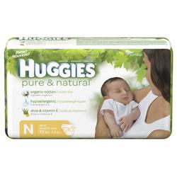 Huggies Pure & Natural Diapers, Newborn, 30-Count (Pack of 6)