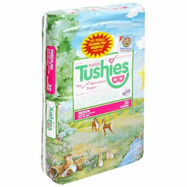 Tushies Gel Free Disposable Diapers, Size M (12-24 lbs), 30 ct
