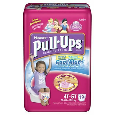 Huggies Pull-Ups Training Pants for Girls with Cool Alert, Jumbo Pack, Size 4T-5T 19 ea