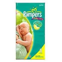 PAMPERS BABY-DRY SIZE 1 JUMBO Size: 2X50