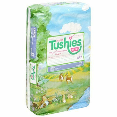 Tushies Gel Free Disposable Diapers, Size L (22-35 lbs), 22 ct