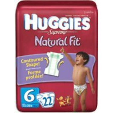 HUGGIES SUPREME NATURAL FIT DIAPERS, SIZE 6, 38+ LBS, 88/CS, KIC52966