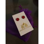 Newborn Feathers 8mm red Geode Earrings