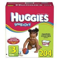 Huggies Snug & Dry Size 3, 204 Count