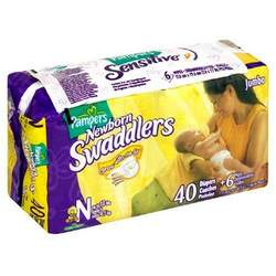 Pampers Swaddlers, Sesame Street, Newborn 40-Count and 6 Wipes (Pack of 2)