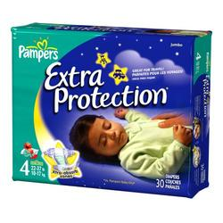 Pampers Baby Dry Overnight Extra Protection Diapers, Size 4, 30-Count (Pack of 4)