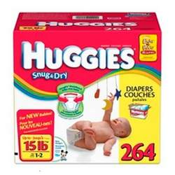 Huggies Snug & Dry Size 1-2, 264 Count