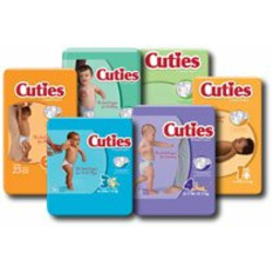 Cuties Premium Baby Diapers, 12-18lbs, 42/Bag, Size 2
