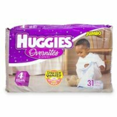 Huggies Ultrathin Overnites Diapers, Size 4, 31-Count (Pack of 4)