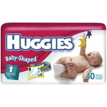 Huggies Ultratrim Disposable Diapers 52121, Unisex, Size 1 (8-14 lbs), 40 diapers/pack, 4 packs/case