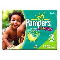 PAMPERS BABY-DRY SIZE 3 JUMBO Size: 4X36