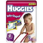 Huggies Baby-Shaped Fit Diapers with Gigglastic Waistband, Size 4, 34-count