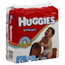 Huggies Snug & Dry Size 6, Jumbo, Pack/18 (Case of 4 Packs)