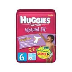 Huggies Supreme Natural Fit Diapers, Size 6, 34-Count (Pack of 2)