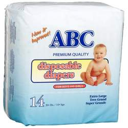 A.B.C. Diapers Extra Large Diapers (30 Lbs+), 14-Count Packages (Pack of 12)