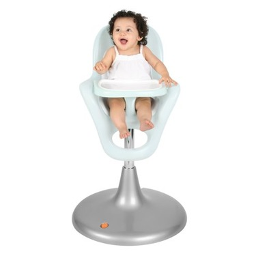 Boon Flair Pneumatic Pedestal Highchair - Frosty Blue and White