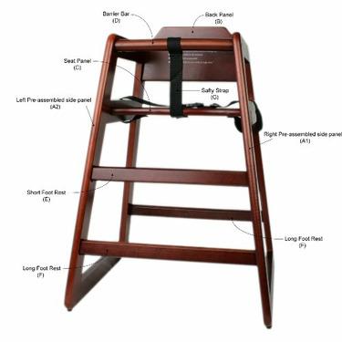 Thunder Group Walnut Wooden High Chair