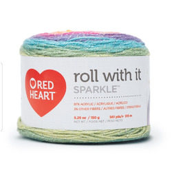 Red Heart Roll With It Sparkle Yarn, Magic