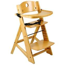 Keekaroo Adjustable Height Right Wood High Chair with Tray - Natural