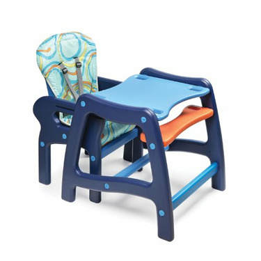 Badger Basket Envee Baby High Chair with Playtable Conversion, Orange/Blue