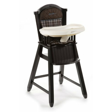 Eddie Bauer Charter Atlantic Blue Wood High Chair in Espresso Finish