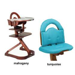 Svan High Chair from Scandinavian Child with Infant Kit and Cushion, Turquoise Cushion with Mahogany Wood
