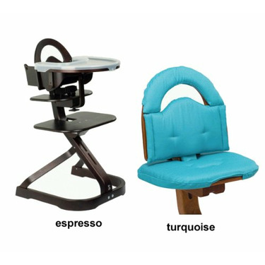 Svan High Chair from Scandinavian Child with Infant Kit and Cushion, Turquoise Cushion with Espresso Wood