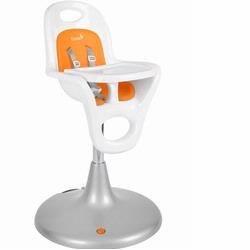 Boon Flair High Chair plastic silver metallic base Boo-702, White/Orange