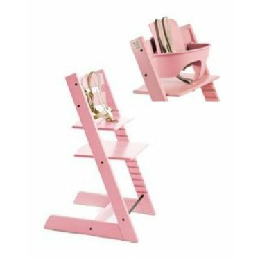 Stokke Tripp Trapp Trend Highchair In Pink With Baby Set