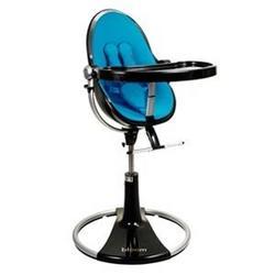 Bloom Fresco Loft High Chair - Ebony with Bermuda Blue (Leatherette) Seat Pad