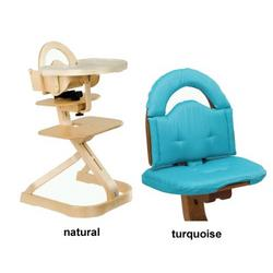 Svan High Chair from Scandinavian Child with Infant Kit and Cushion, Turquoise Cushion with Natural Wood